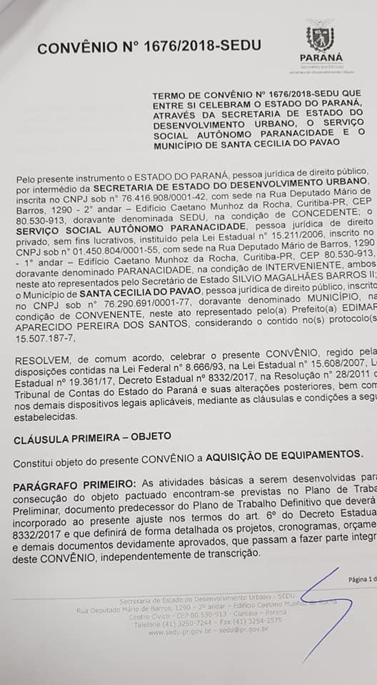 Fotos MUNICÍPIO DE SANTA CECILIA DO PAVÃO COLHE FRUTOS DE 2 SEMANA DE MUITO TRABALHO. MAIS DE R$ 800 MIL EM RECURSOS.