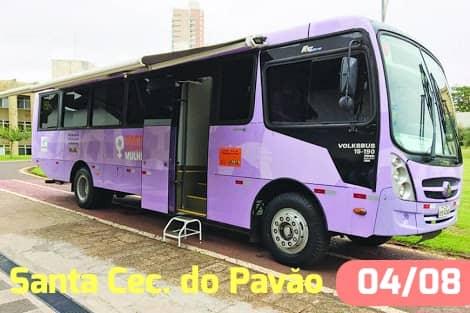 Fotos Ônibus Lilás (atenção as mulheres) da SEDS no Município Santa Cecilia Do Pavão dia 04/08.