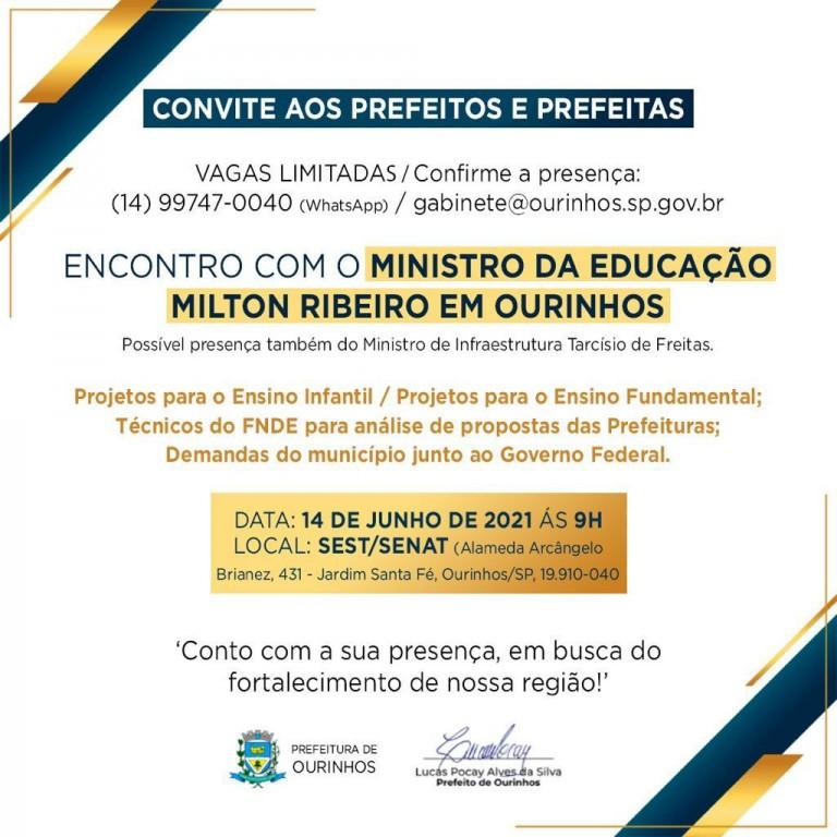 PREFEITO EDIMAR PARTICIPA DE ENCONTRO COM MINISTRO DA EDUCAÇÃO, EM OURINHOS-SP