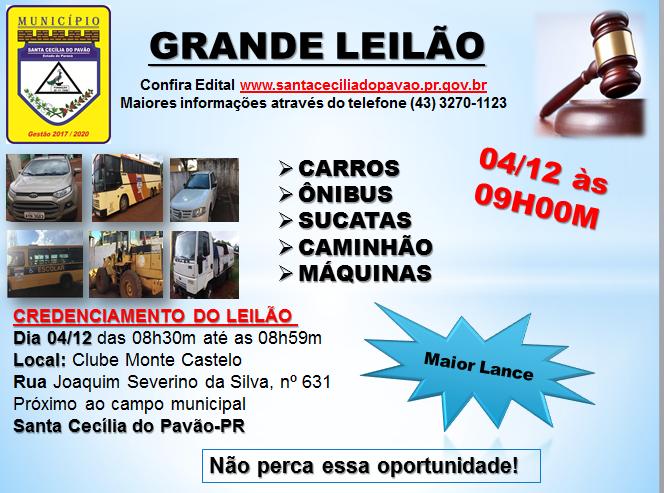 LEILÃO DE VEÍCULOS E MÁQUINAS SERÁ NO DIA 04/12