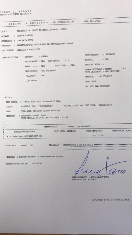 MAIS 410 MIL EM RECURSOS PARA SANTA CECÍLIA DO PAVÃO.