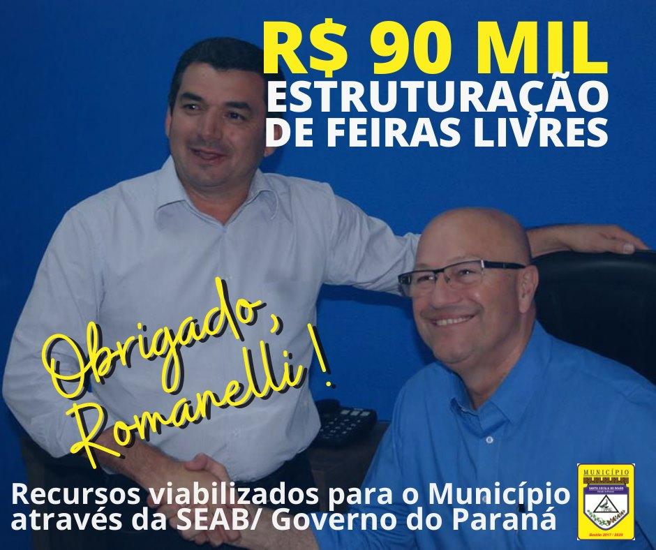 FEIRA LIVRE - GERAÇÃO DE RENDA E LAZER !  DEPUTADO ROMANELLI DISPONIBILIZA R$ 90 MIL REAIS PARA ESTRUTURAÇÃO DE FEIRAS LIVRES