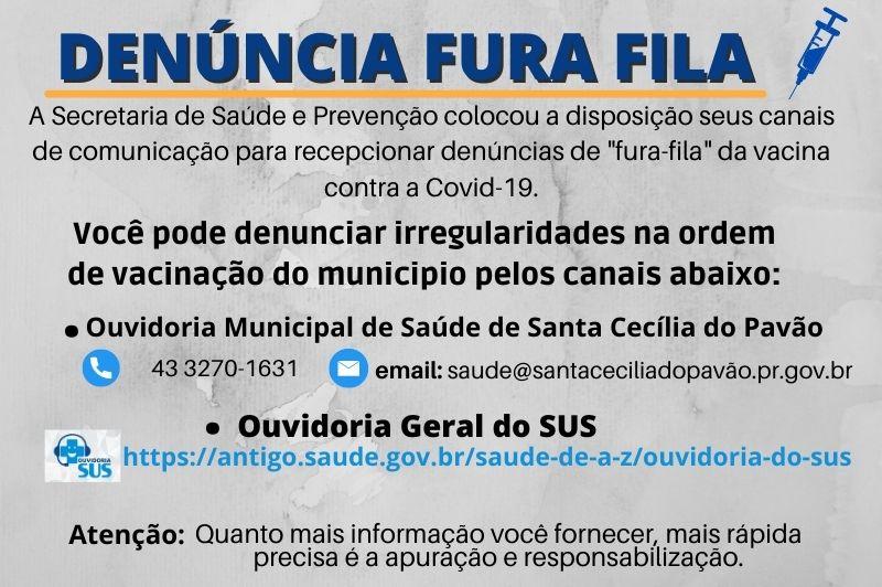 DENÚNCIA FURA FILA COVID-19
