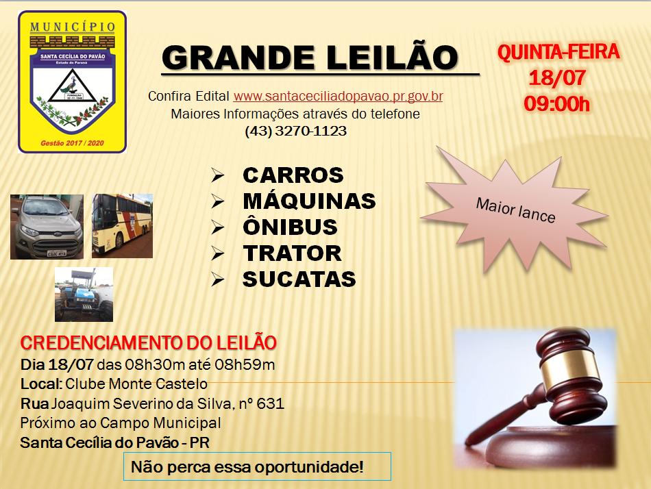 GRANDE LEILÃO DE VEÍCULOS E SUCATAS
