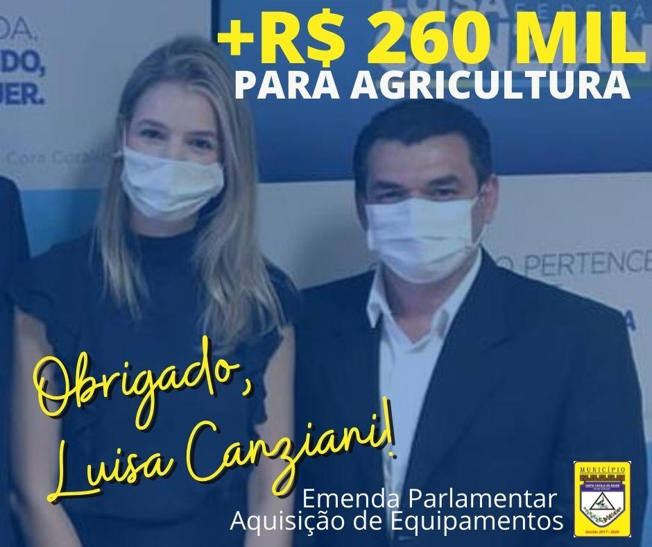DEPUTADA LUISA CANZIANI DESTINA MAIS R$ 260 MIL PARA A AGRICULTURA DO MUNICÍPIO
