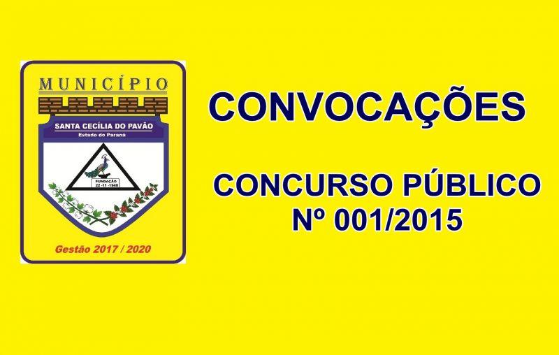 PREFEITURA CONVOCA CANDIDATOS APROVADOS NO CONCURSO PÚBLICO Nº 001/2015