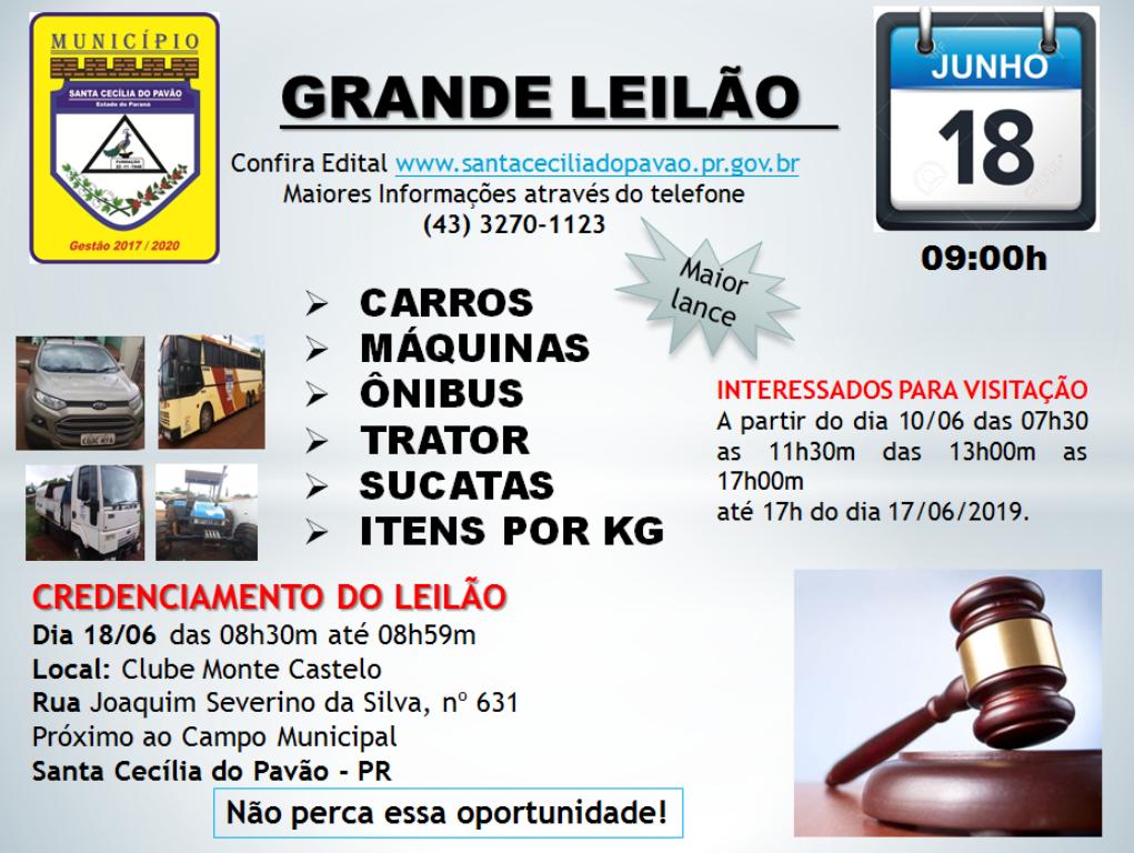 LEILÃO DE VEÍCULOS E MÁQUINAS SERÁ NO DIA 18/06